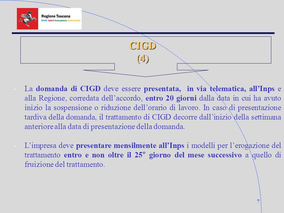 7 CIGD(4) -La domanda di CIGD deve essere presentata, in via telematica, all'Inps e alla Regione, corredata dell'accordo, entro 20 giorni dalla data i