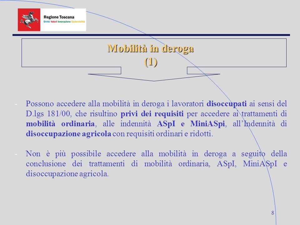 8 Mobilità in deroga (1) -Possono accedere alla mobilità in deroga i lavoratori disoccupati ai sensi del D.lgs 181/00, che risultino privi dei requisiti per accedere ai trattamenti di mobilità ordinaria, alle indennità ASpI e MiniASpi, all'Indennità di disoccupazione agricola con requisiti ordinari e ridotti.
