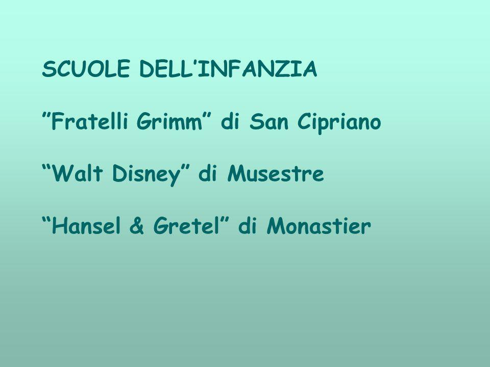 """SCUOLE DELL'INFANZIA """"Fratelli Grimm"""" di San Cipriano """"Walt Disney"""" di Musestre """"Hansel & Gretel"""" di Monastier"""