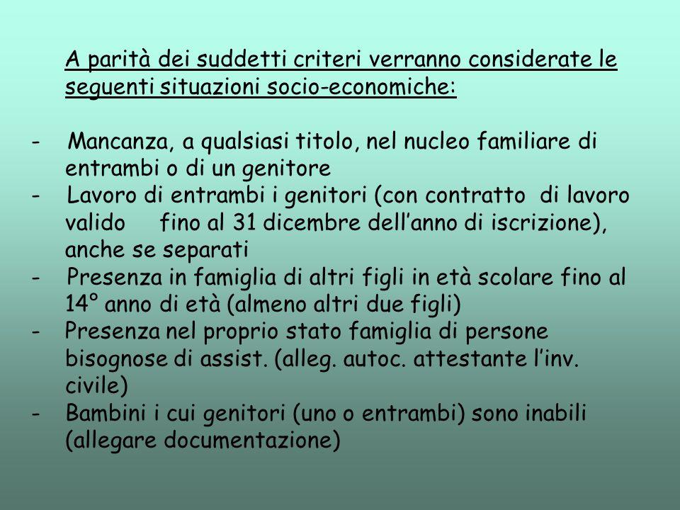 A parità dei suddetti criteri verranno considerate le seguenti situazioni socio-economiche: - Mancanza, a qualsiasi titolo, nel nucleo familiare di en