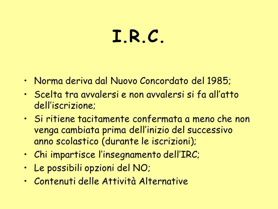 I.R.C. Norma deriva dal Nuovo Concordato del 1985; Scelta tra avvalersi e non avvalersi si fa all'atto dell'iscrizione; Si ritiene tacitamente conferm