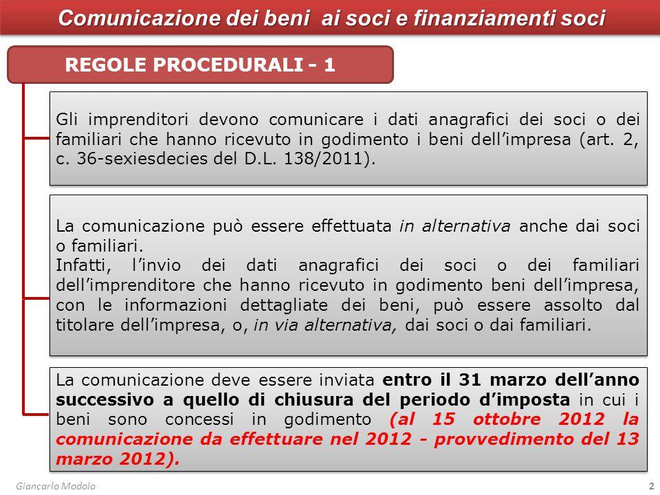 Comunicazione dei beni ai soci e finanziamenti soci FINANZIAMENTI E VERSAMENTI SOCI Il provv.