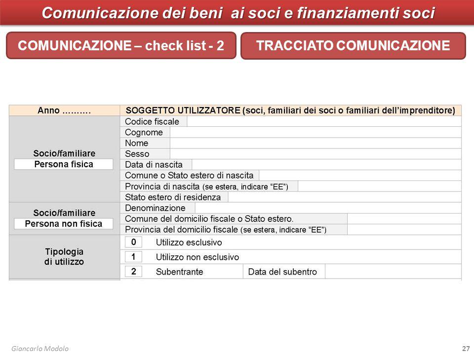 Comunicazione dei beni ai soci e finanziamenti soci COMUNICAZIONE – check list - 2 Giancarlo Modolo27 TRACCIATO COMUNICAZIONE