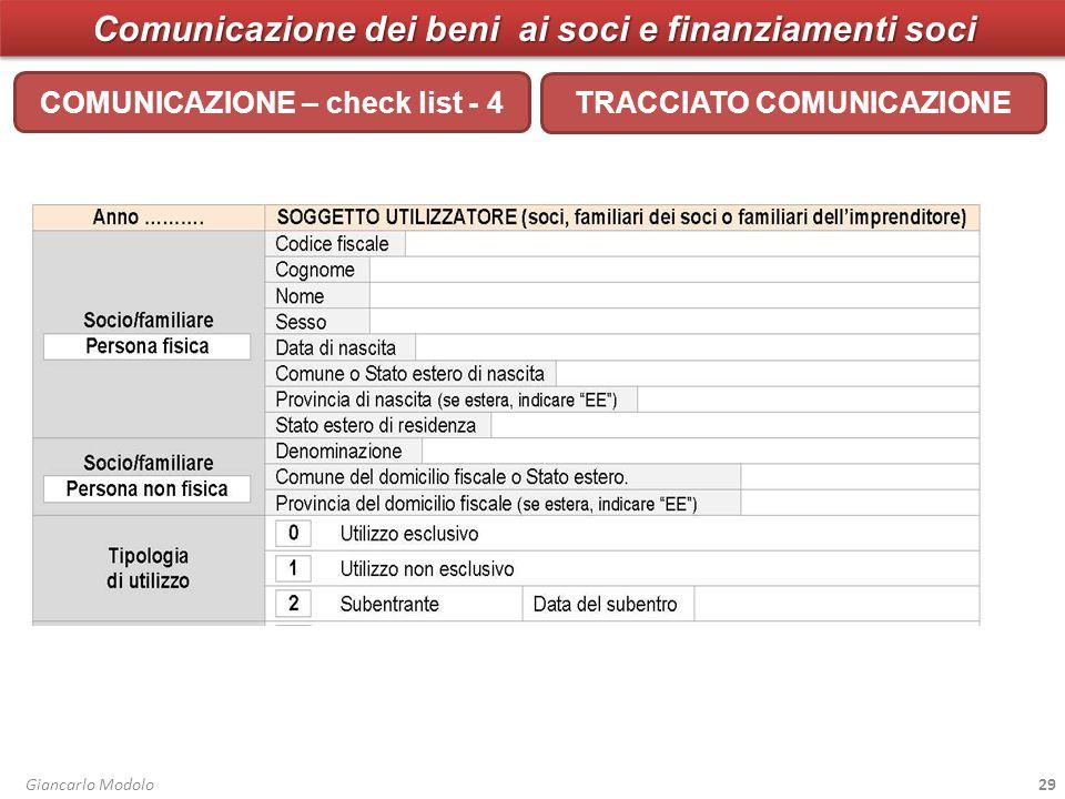 Comunicazione dei beni ai soci e finanziamenti soci COMUNICAZIONE – check list - 4 Giancarlo Modolo29 TRACCIATO COMUNICAZIONE