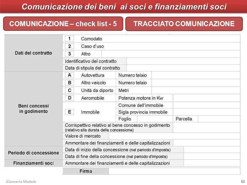 Comunicazione dei beni ai soci e finanziamenti soci COMUNICAZIONE – check list - 5 Giancarlo Modolo30 TRACCIATO COMUNICAZIONE