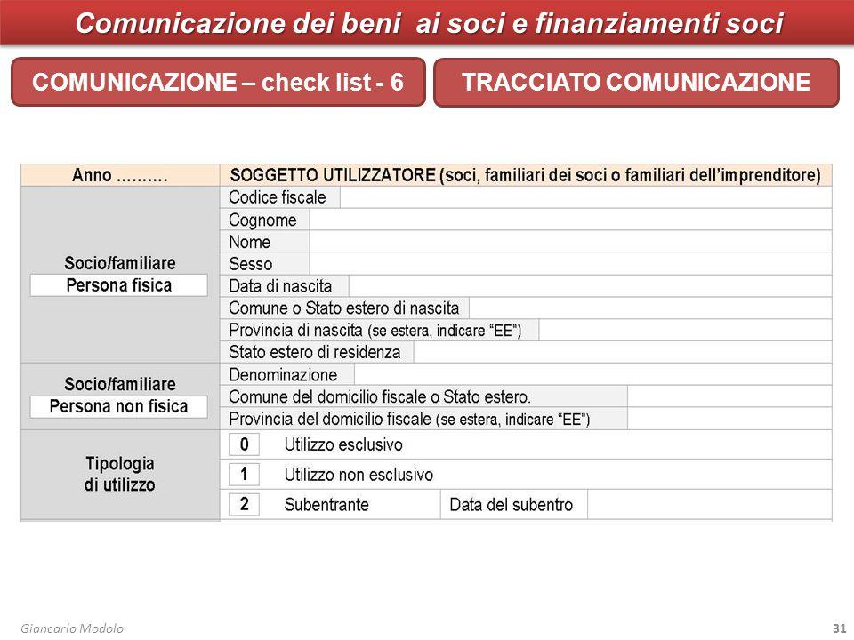 Comunicazione dei beni ai soci e finanziamenti soci COMUNICAZIONE – check list - 6 Giancarlo Modolo31 TRACCIATO COMUNICAZIONE