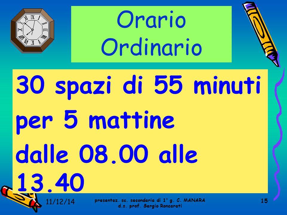 15 Orario Ordinario 30 spazi di 55 minuti per 5 mattine dalle 08.00 alle 13.40 presentaz. sc. secondaria di 1° g. C. MANARA d.s. prof. Sergio Roncarat