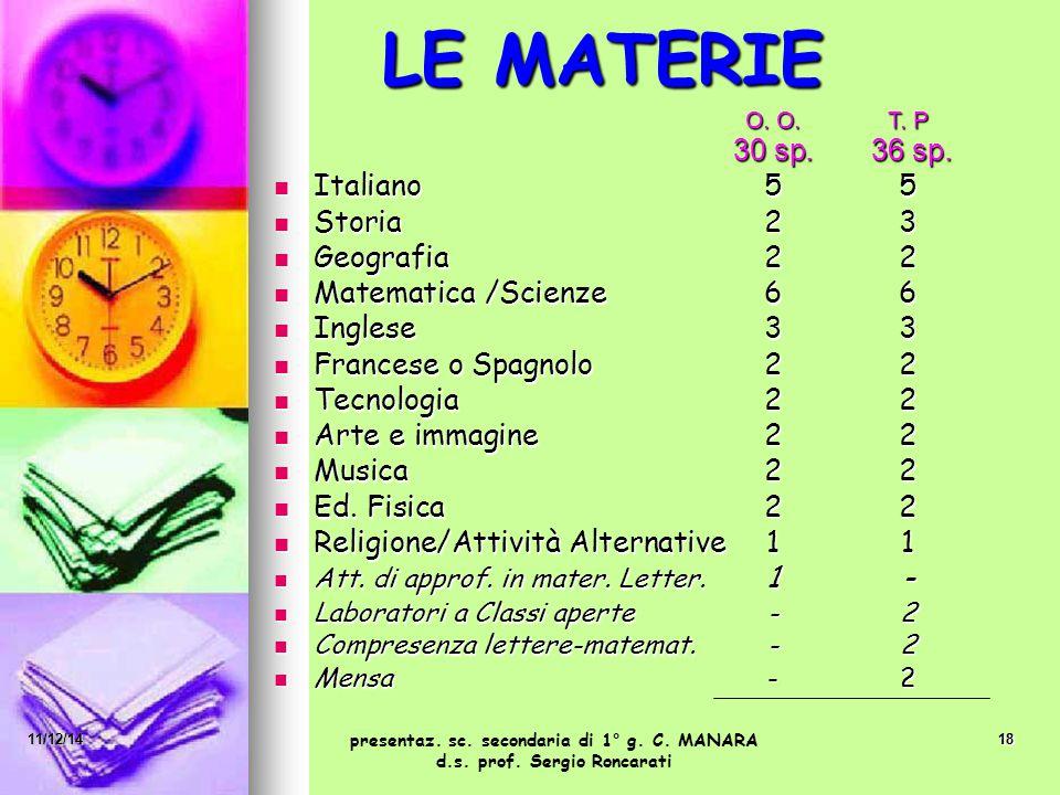 18 LE MATERIE O. O.T. P O. O.T. P 30 sp. 36 sp. Italiano 55 Italiano 55 Storia23 Storia23 Geografia22 Geografia22 Matematica /Scienze66 Matematica /Sc