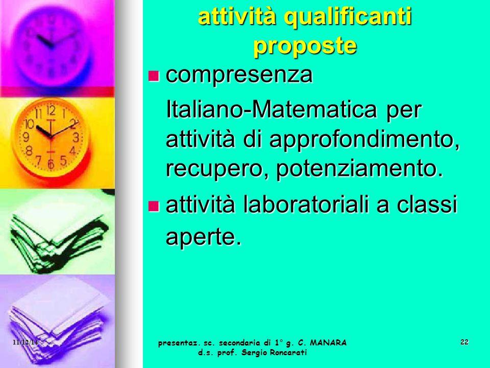 22 attività qualificanti proposte compresenza compresenza Italiano-Matematica per attività di approfondimento, recupero, potenziamento. Italiano-Matem
