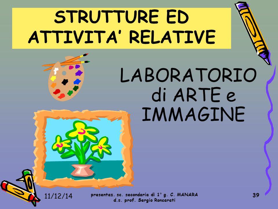 39 LABORATORIO di ARTE e IMMAGINE STRUTTURE ED ATTIVITA' RELATIVE presentaz. sc. secondaria di 1° g. C. MANARA d.s. prof. Sergio Roncarati 11/12/14