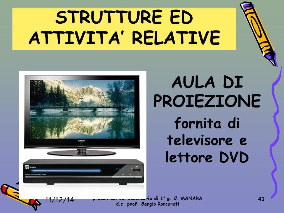 41 AULA DI PROIEZIONE fornita di televisore e lettore DVD STRUTTURE ED ATTIVITA' RELATIVE presentaz. sc. secondaria di 1° g. C. MANARA d.s. prof. Serg