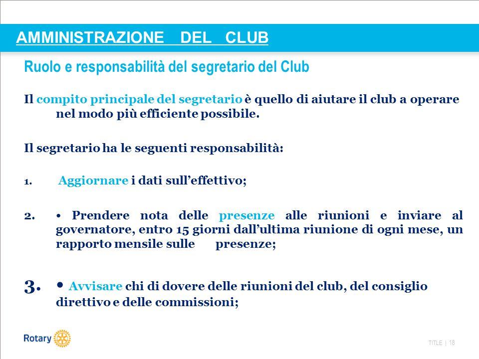 TITLE | 19 AMMINISTRAZIONE DEL CLUB Ruolo e responsabilità del segretario del Club 4.
