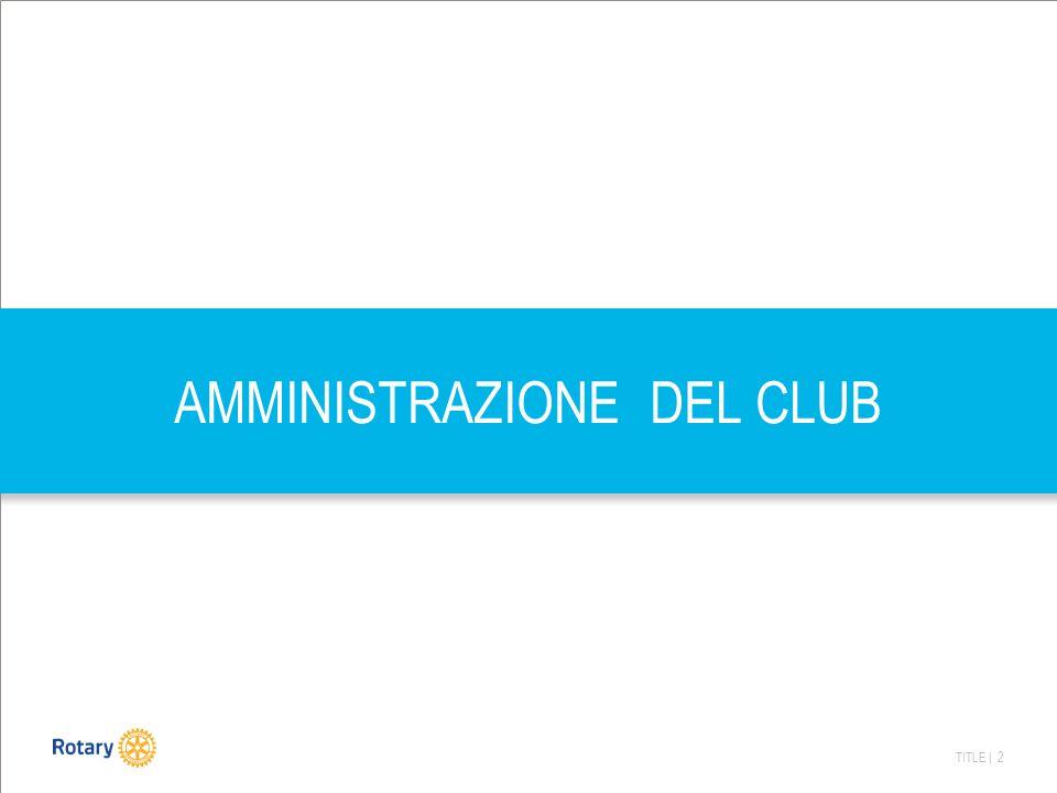 TITLE | 3 AMMINISTRAZIONE DEL CLUB Il concetto di amministrazione del Club non deve essere ristretto al concetto di amministrazione contabile, che ne costituisce invece solamente una Parte Amministrare il Club significa operare in tutte le complesse attività organizzative che permettono di svolgere i programmi nei termini e secondo gli obiettivi stabiliti