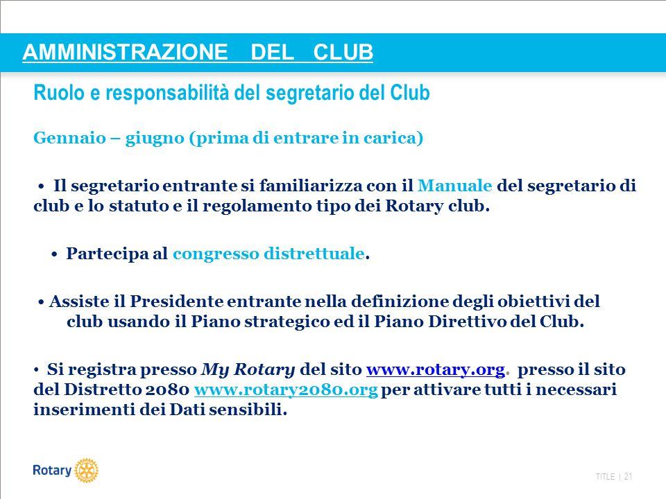 TITLE | 22 AMMINISTRAZIONE DEL CLUB Ruolo e responsabilità del segretario del Club Calendario del segretario di club Luglio Assume ufficialmente l'incarico e i compiti a esso relativi.