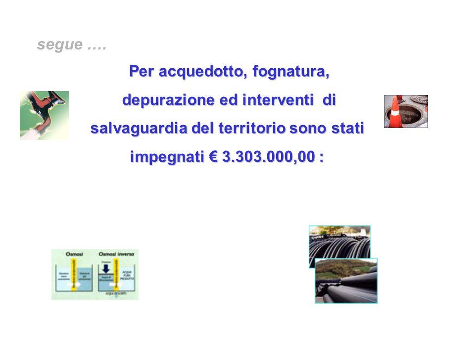 Per acquedotto, fognatura, depurazione ed interventi di salvaguardia del territorio sono stati impegnati € 3.303.000,00 :