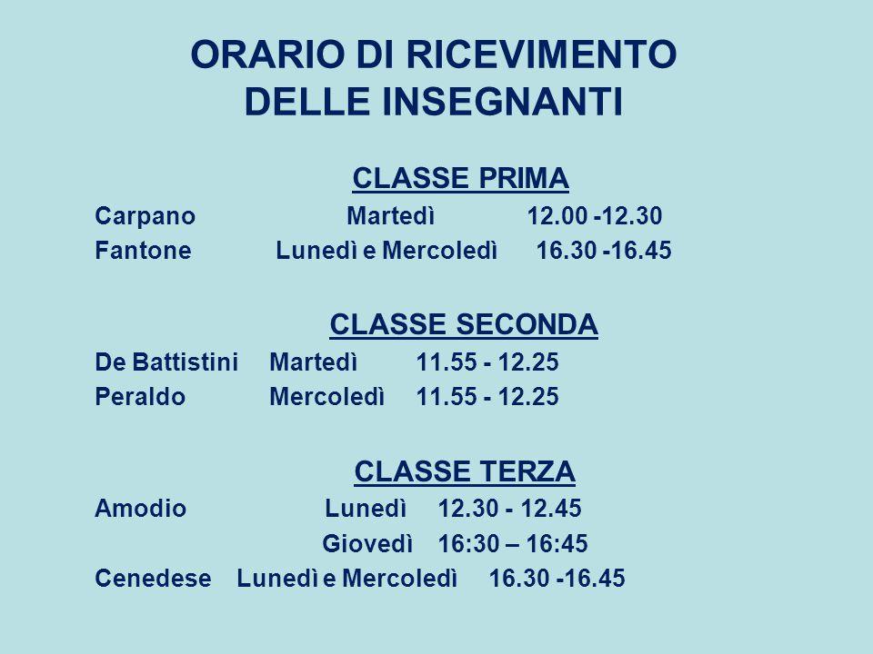 ORARIO DI RICEVIMENTO DELLE INSEGNANTI CLASSE PRIMA Carpano Martedì 12.00 -12.30 Fantone Lunedì e Mercoledì 16.30 -16.45 CLASSE SECONDA De Battistini