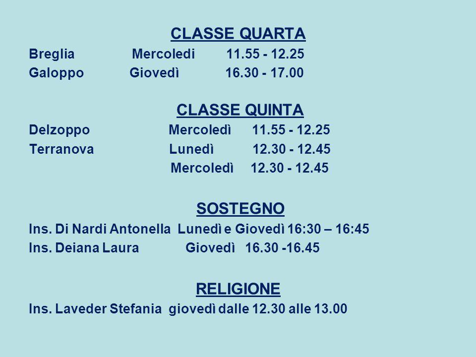 CLASSE QUARTA Breglia Mercoledi 11.55 - 12.25 Galoppo Giovedì 16.30 - 17.00 CLASSE QUINTA Delzoppo Mercoledì 11.55 - 12.25 Terranova Lunedì 12.30 - 12