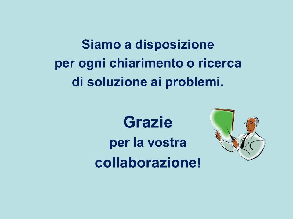 Siamo a disposizione per ogni chiarimento o ricerca di soluzione ai problemi. Grazie per la vostra collaborazione !