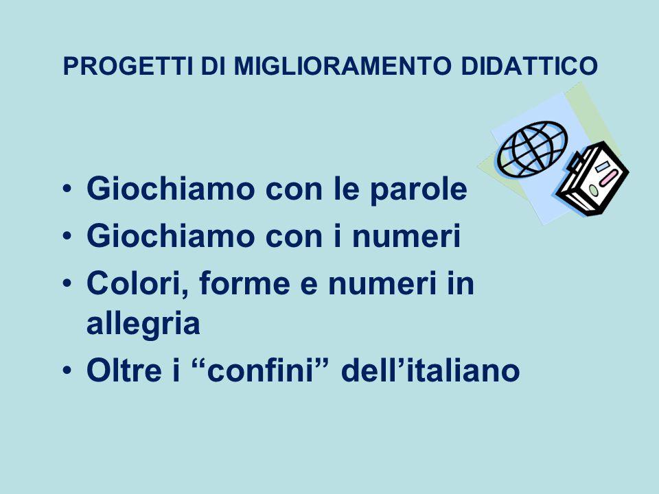 """PROGETTI DI MIGLIORAMENTO DIDATTICO Giochiamo con le parole Giochiamo con i numeri Colori, forme e numeri in allegria Oltre i """"confini"""" dell'italiano"""