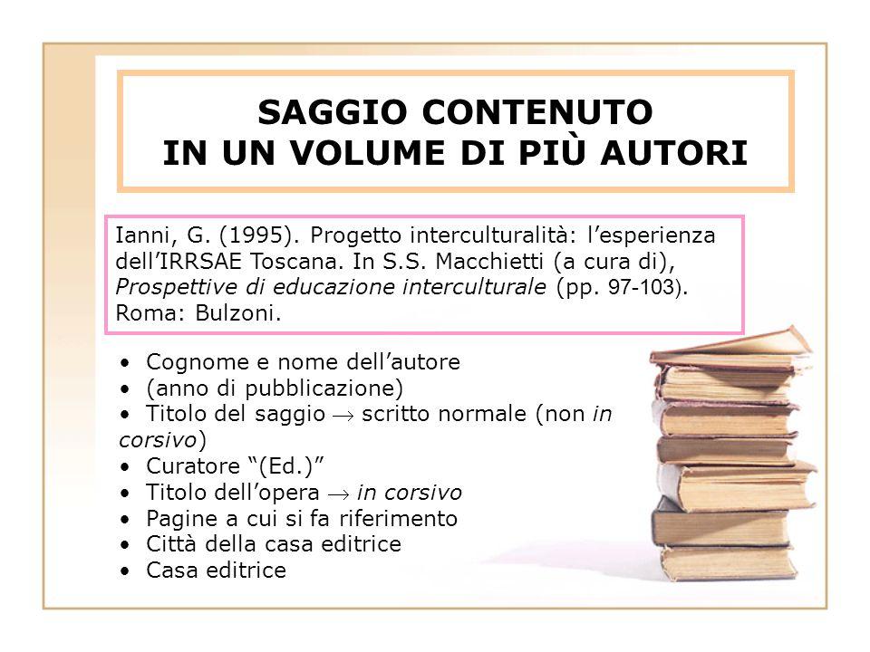 SAGGIO CONTENUTO IN UN VOLUME DI PIÙ AUTORI Ianni, G.