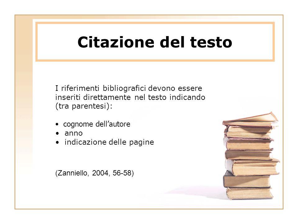 Citazione del testo I riferimenti bibliografici devono essere inseriti direttamente nel testo indicando (tra parentesi): cognome dell'autore anno indicazione delle pagine (Zanniello, 2004, 56-58)