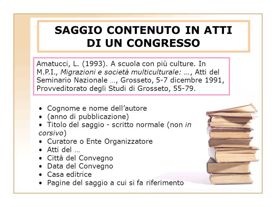 SAGGIO CONTENUTO IN ATTI DI UN CONGRESSO Amatucci, L.