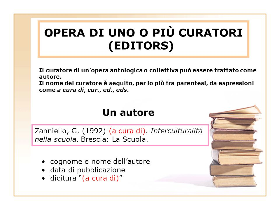 OPERA DI UNO O PIÙ CURATORI (EDITORS) Zanniello, G. (1992) (a cura di). Interculturalità nella scuola. Brescia: La Scuola. cognome e nome dell'autore