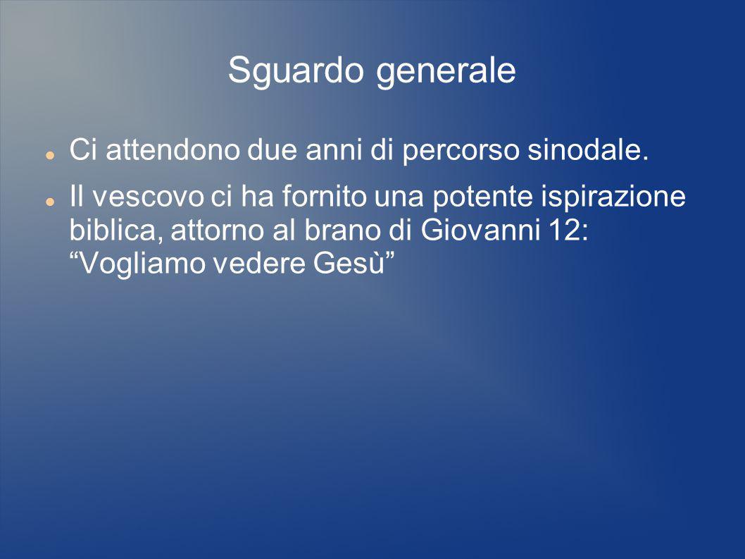 Sguardo generale Ci attendono due anni di percorso sinodale. Il vescovo ci ha fornito una potente ispirazione biblica, attorno al brano di Giovanni 12