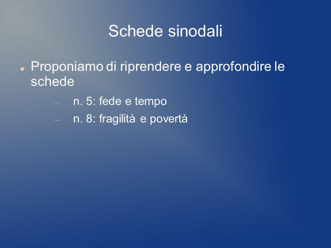 Schede sinodali Proponiamo di riprendere e approfondire le schede  n. 5: fede e tempo  n. 8: fragilità e povertà