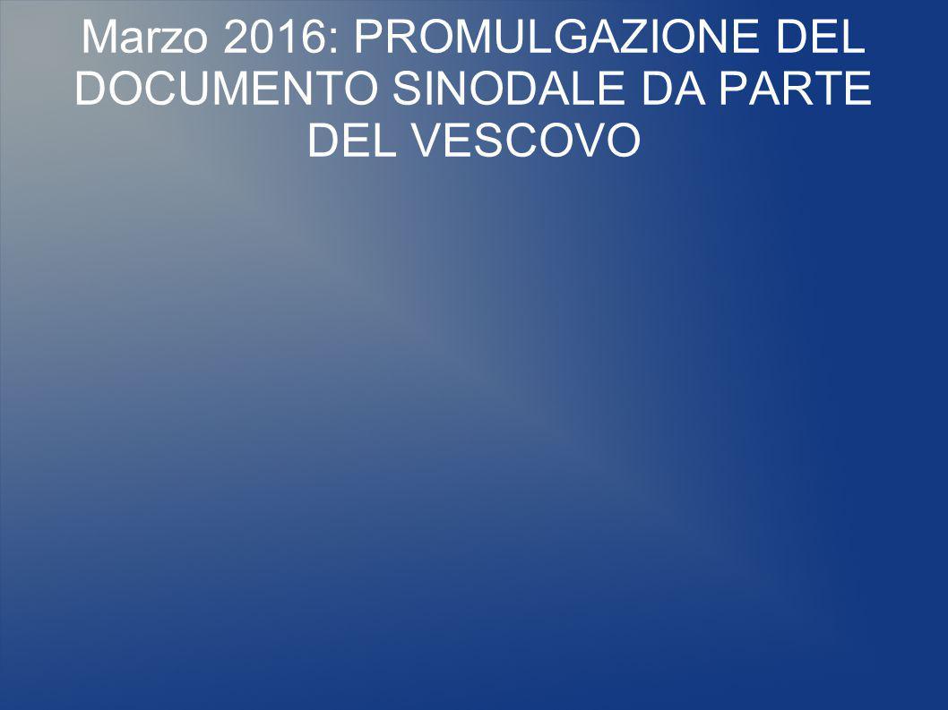 Marzo 2016: PROMULGAZIONE DEL DOCUMENTO SINODALE DA PARTE DEL VESCOVO