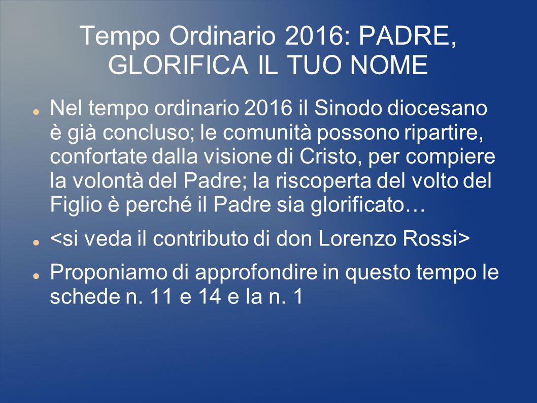 Tempo Ordinario 2016: PADRE, GLORIFICA IL TUO NOME Nel tempo ordinario 2016 il Sinodo diocesano è già concluso; le comunità possono ripartire, confort