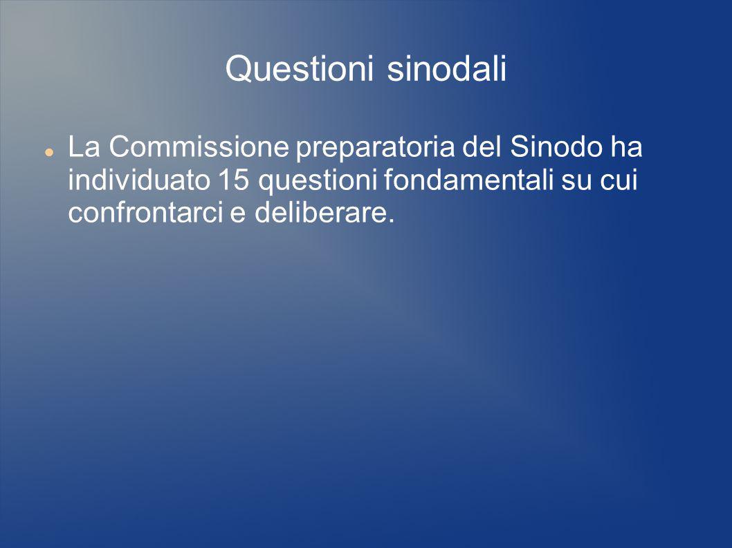 Questioni sinodali La Commissione preparatoria del Sinodo ha individuato 15 questioni fondamentali su cui confrontarci e deliberare.