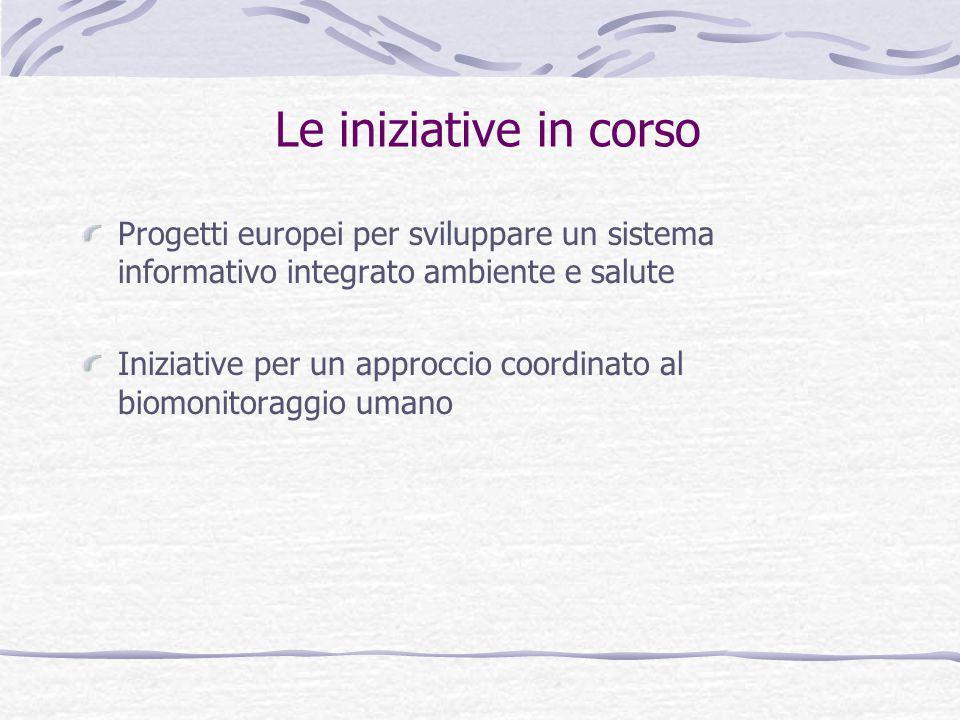 Le iniziative in corso Progetti europei per sviluppare un sistema informativo integrato ambiente e salute Iniziative per un approccio coordinato al biomonitoraggio umano
