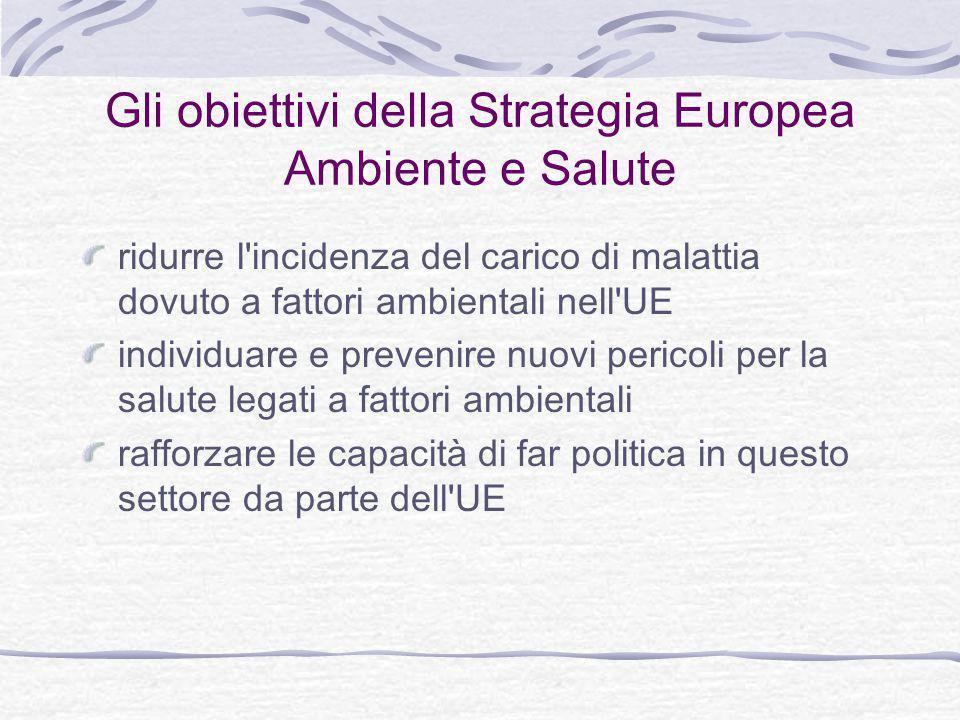 Gli obiettivi della Strategia Europea Ambiente e Salute ridurre l incidenza del carico di malattia dovuto a fattori ambientali nell UE individuare e prevenire nuovi pericoli per la salute legati a fattori ambientali rafforzare le capacità di far politica in questo settore da parte dell UE