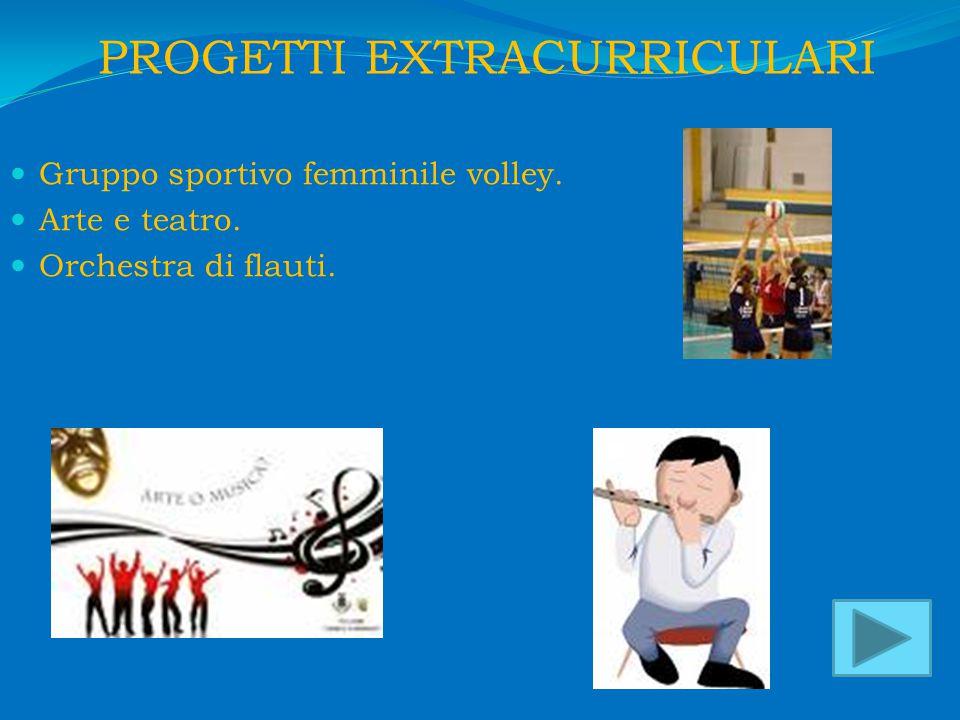 PROGETTI EXTRACURRICULARI Gruppo sportivo femminile volley. Arte e teatro. Orchestra di flauti.