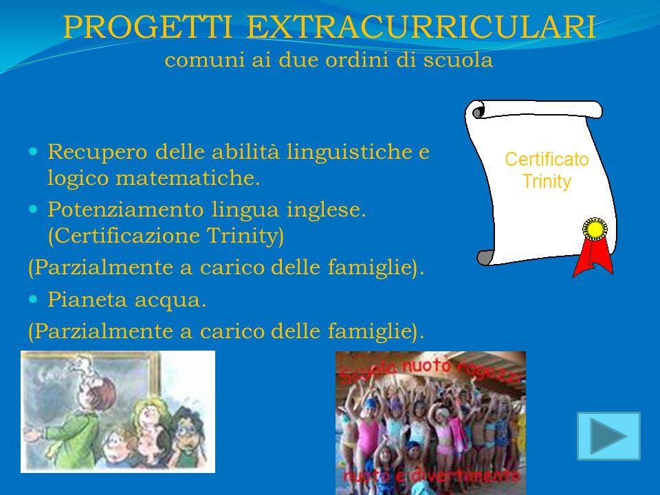 PROGETTI EXTRACURRICULARI comuni ai due ordini di scuola Recupero delle abilità linguistiche e logico matematiche.