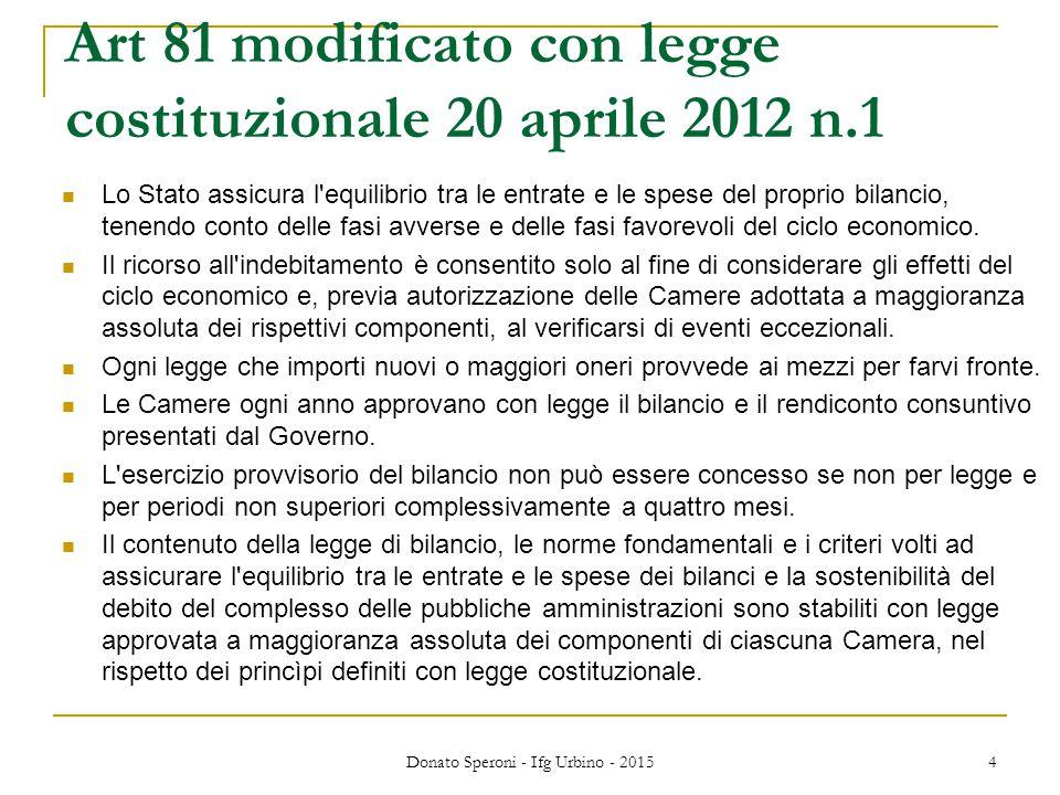 Art 81 modificato con legge costituzionale 20 aprile 2012 n.1 Lo Stato assicura l'equilibrio tra le entrate e le spese del proprio bilancio, tenendo c