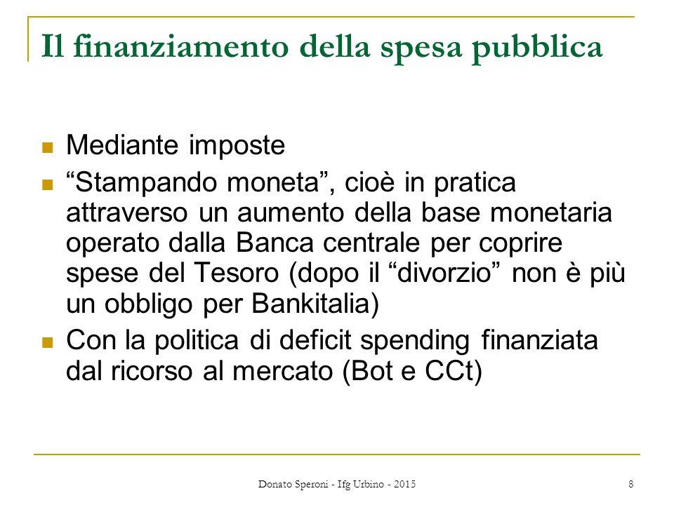 """Donato Speroni - Ifg Urbino - 2015 8 Il finanziamento della spesa pubblica Mediante imposte """"Stampando moneta"""", cioè in pratica attraverso un aumento"""