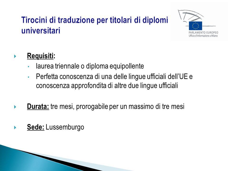 Requisiti: laurea triennale o diploma equipollente Perfetta conoscenza di una delle lingue ufficiali dell'UE e conoscenza approfondita di altre due lingue ufficiali  Durata: tre mesi, prorogabile per un massimo di tre mesi  Sede: Lussemburgo