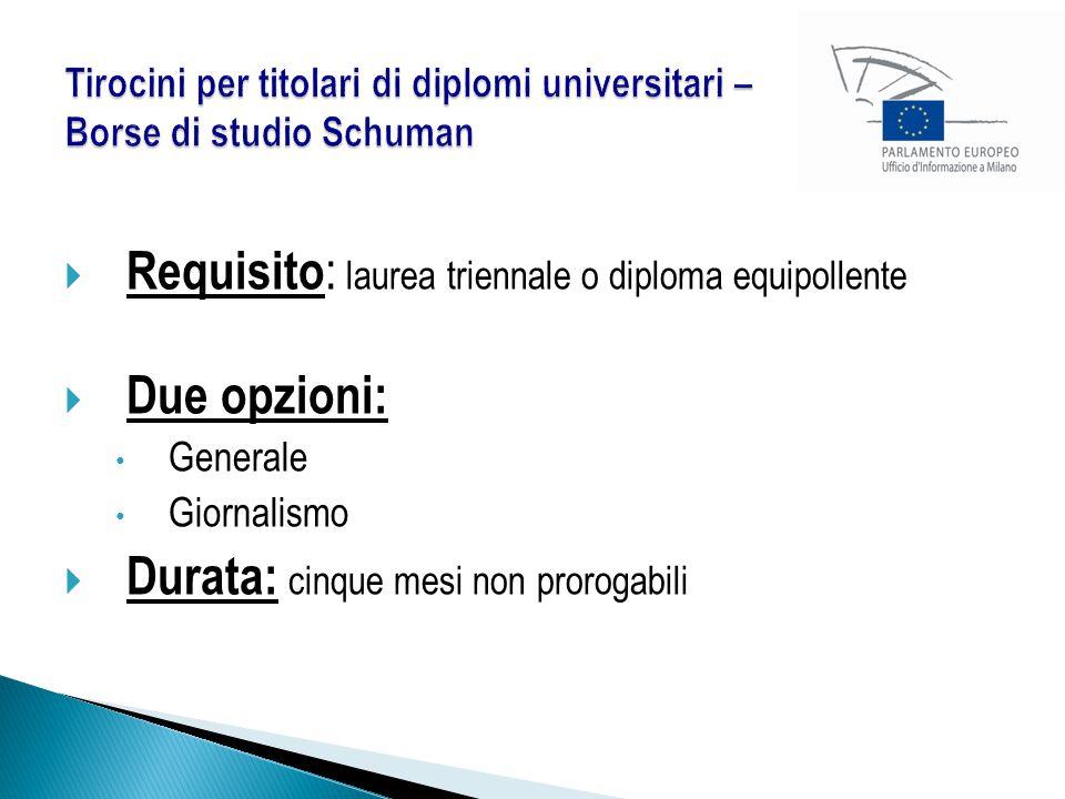  Requisito : laurea triennale o diploma equipollente  Due opzioni: Generale Giornalismo  Durata: cinque mesi non prorogabili