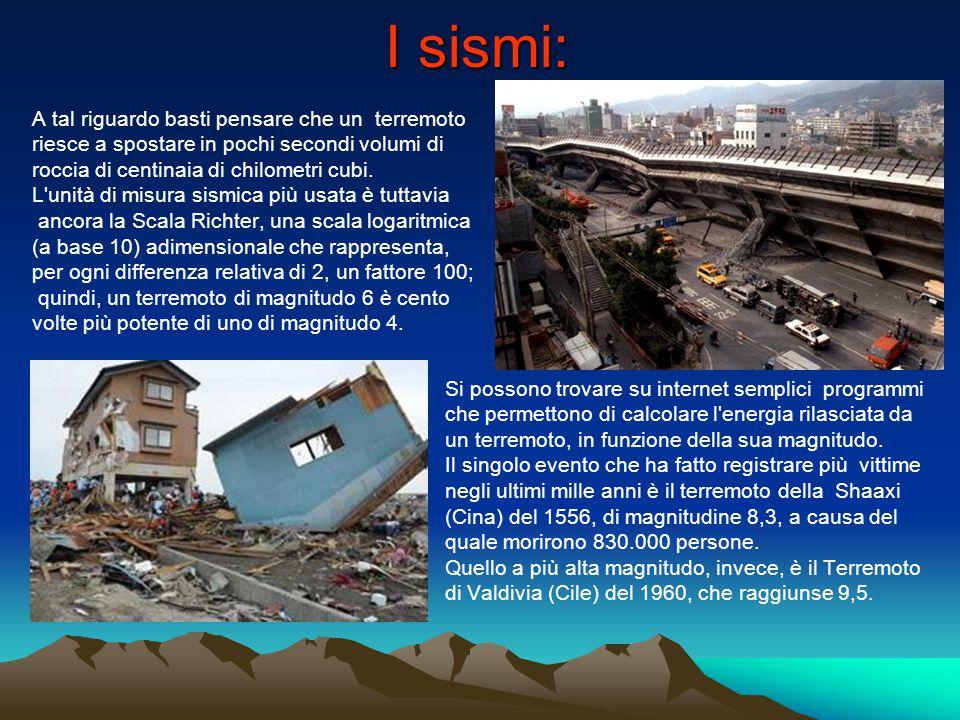 I sismi: A tal riguardo basti pensare che un terremoto riesce a spostare in pochi secondi volumi di roccia di centinaia di chilometri cubi. L'unità di