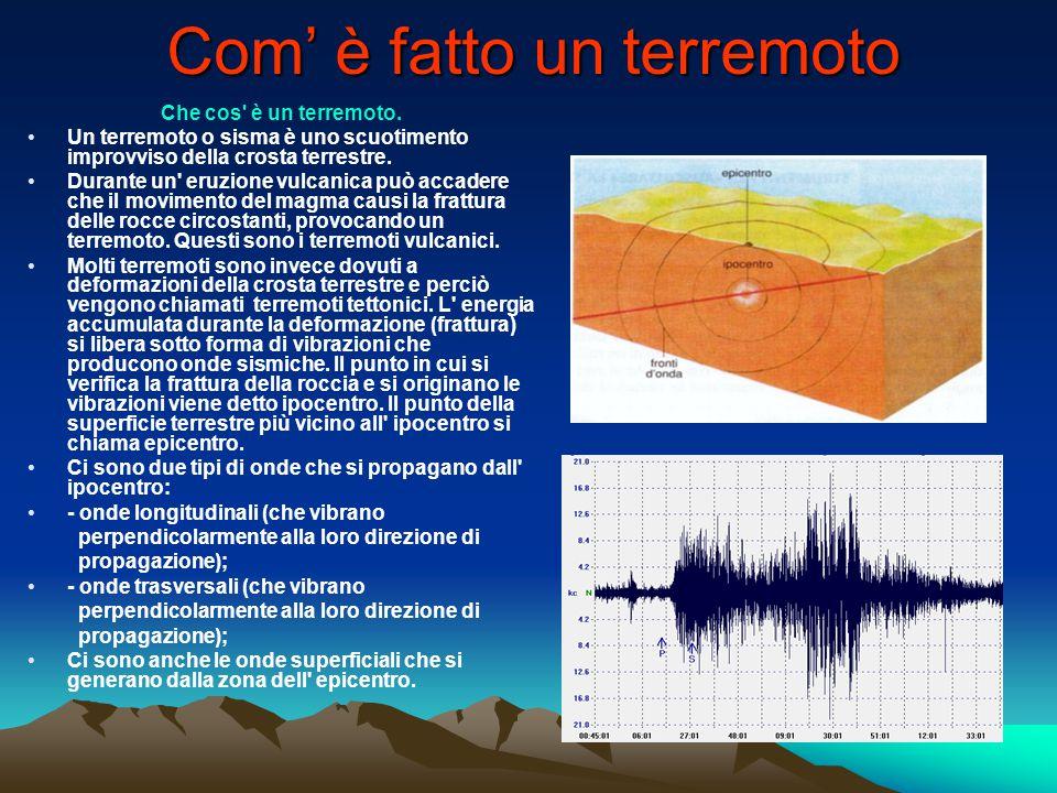 Com' è fatto un terremoto Che cos' è un terremoto. Un terremoto o sisma è uno scuotimento improvviso della crosta terrestre. Durante un' eruzione vulc