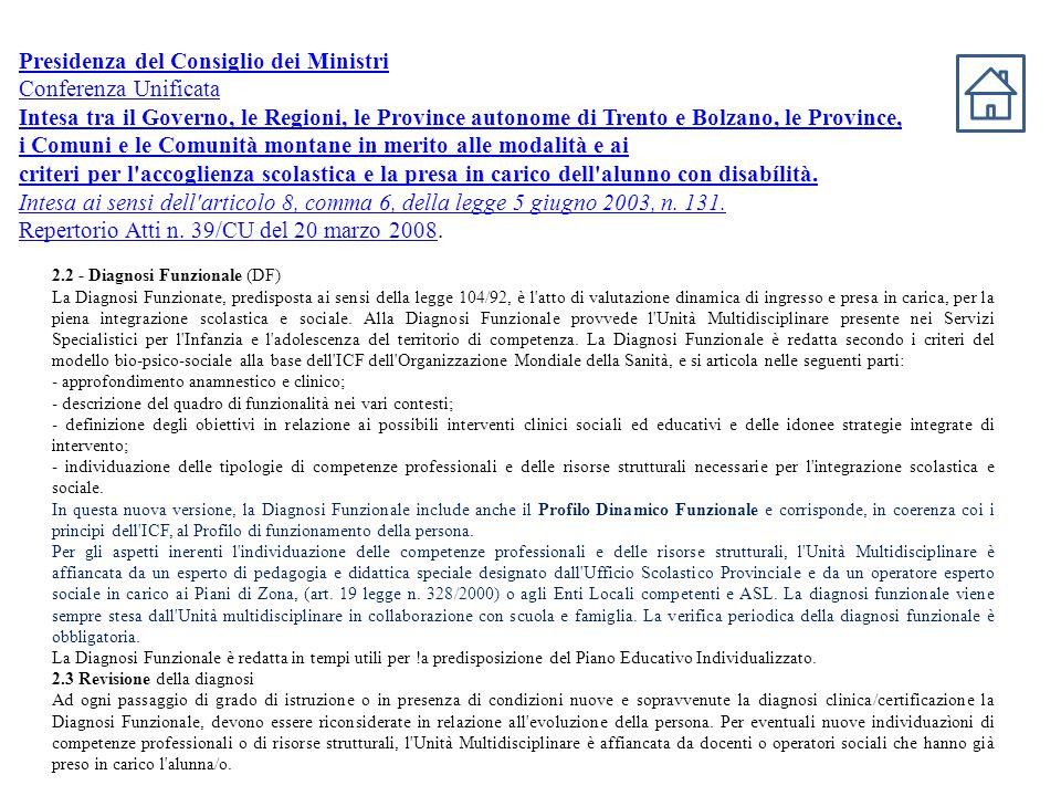 Presidenza del Consiglio dei Ministri Conferenza Unificata Intesa tra il Governo, le Regioni, le Province autonome di Trento e Bolzano, le Province, i