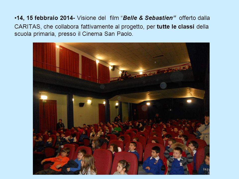 """14, 15 febbraio 2014- Visione del film """"Belle & Sebastien"""" offerto dalla CARITAS, che collabora fattivamente al progetto, per tutte le classi della sc"""