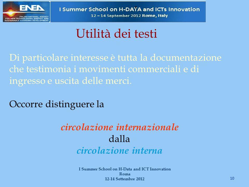 Utilità dei testi 10 I Summer School on H-Data and ICT Innovation Roma 12-14 Settembre 2012 Di particolare interesse è tutta la documentazione che testimonia i movimenti commerciali e di ingresso e uscita delle merci.