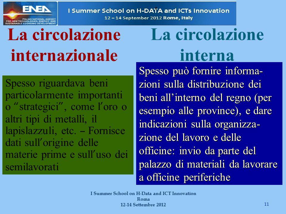11 I Summer School on H-Data and ICT Innovation Roma 12-14 Settembre 2012 La circolazione internazionale Spesso riguardava beni particolarmente importanti o strategici , come l ' oro o altri tipi di metalli, il lapislazzuli, etc.