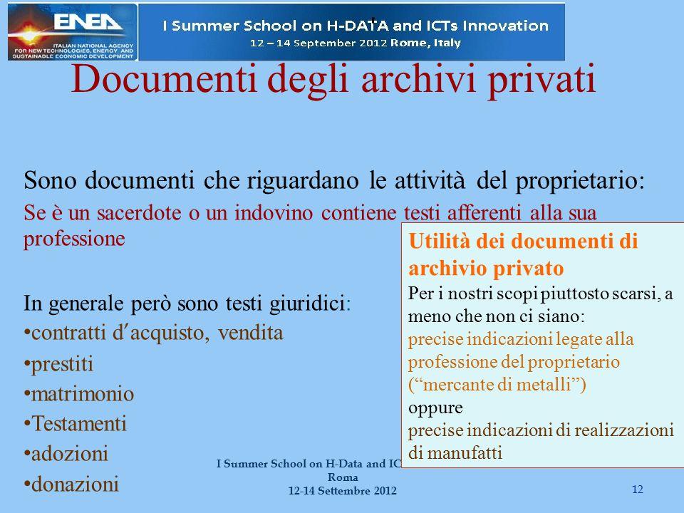 12 I Summer School on H-Data and ICT Innovation Roma 12-14 Settembre 2012 Documenti degli archivi privati Sono documenti che riguardano le attivit à d