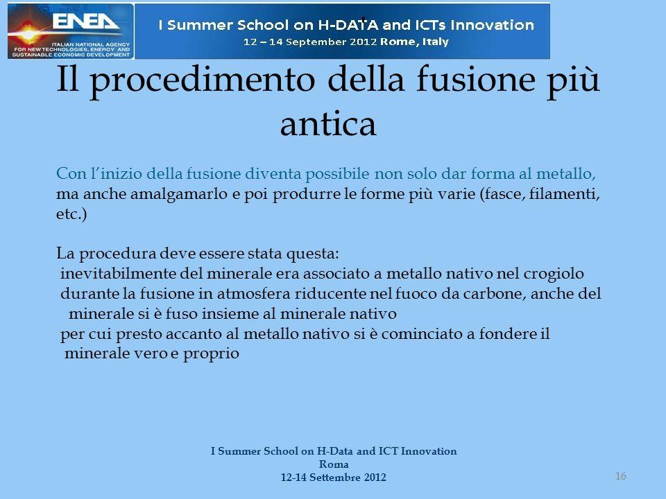 Il procedimento della fusione più antica 16 I Summer School on H-Data and ICT Innovation Roma 12-14 Settembre 2012 Con l'inizio della fusione diventa
