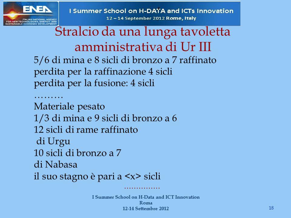 Stralcio da una lunga tavoletta amministrativa di Ur III 18 I Summer School on H-Data and ICT Innovation Roma 12-14 Settembre 2012 5/6 di mina e 8 sic