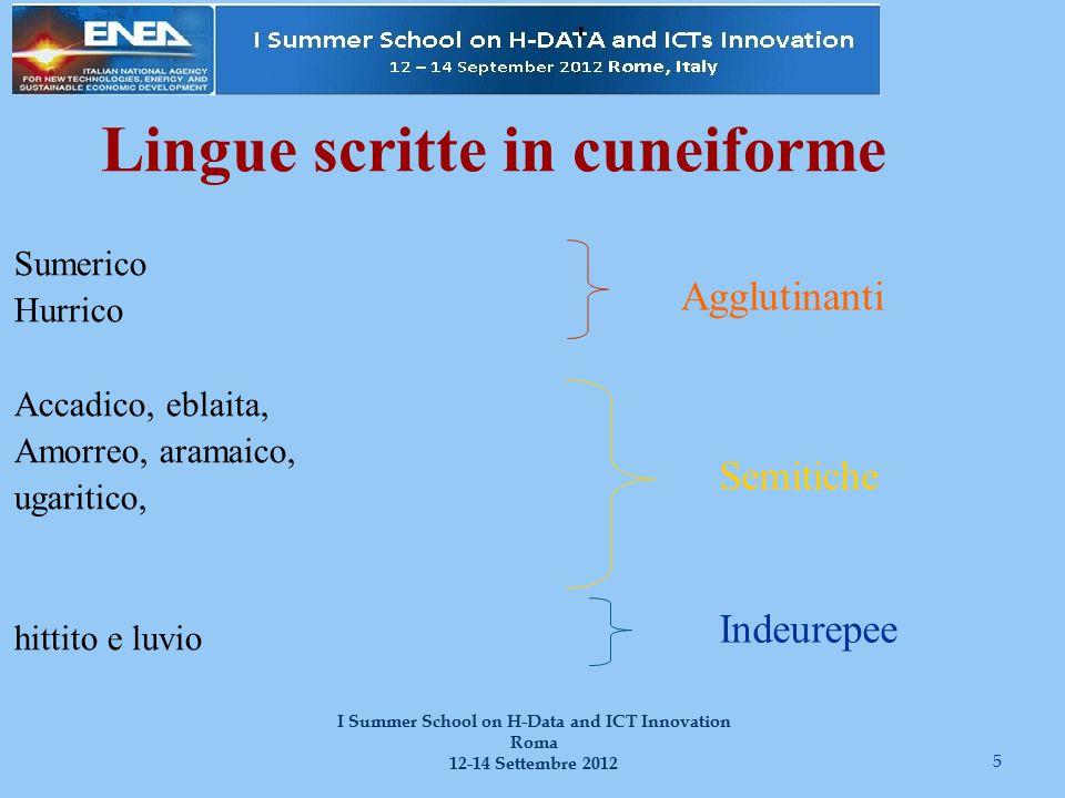 5 I Summer School on H-Data and ICT Innovation Roma 12-14 Settembre 2012 Lingue scritte in cuneiforme Sumerico Hurrico Accadico, eblaita, Amorreo, ara